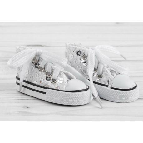 Кеды белые с пайетками, длина стопы 7,5см. Кукольная обувь
