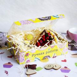 Пончики, коробка горизонтальная с окошком 15,5х11х4см