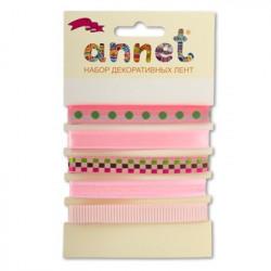 Розовый, набор лент 12мм, 5шт по 1м , Annet