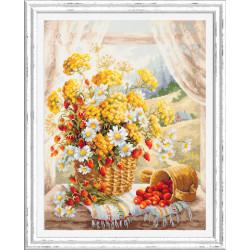 Медовый аромат, набор для вышивания крестом 32х40см мулине хлопок 36цв. канва Aida№14 ЧИ