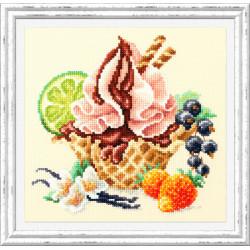 Ванильное мороженное, набор для вышивания крестом 17х17см мулине хлопок 31цв. канва Aida№14 ЧИ