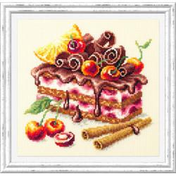 Вишневый торт, набор для вышивания крестом 17х17см мулине хлопок 30цв. канва Aida№14 ЧИ