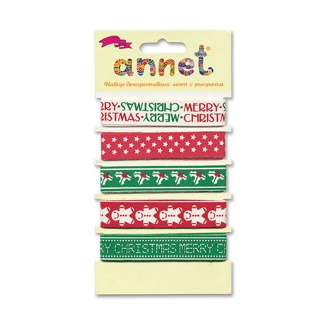 Веселого Рождества, набор декоративных лент ширина 16мм, 5шт по 1м , Annet