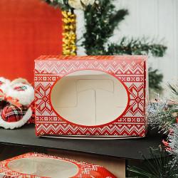 Скандинавская коллекция (красная), коробка горизонтальная с окошком 15,5х11х4см