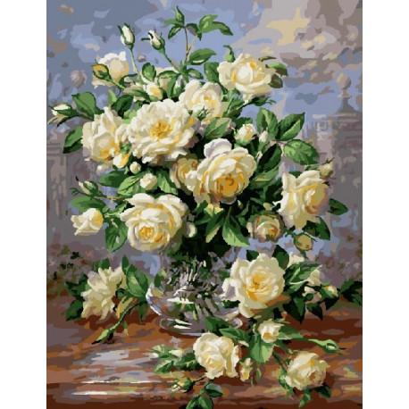 Белые розы, картина по номерам на холсте 40х50см 28цв Original