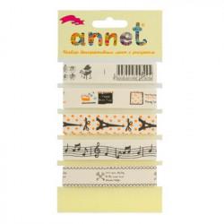 Музыка, набор декоративных лент ширина 16мм, 5шт по 1м , Annet
