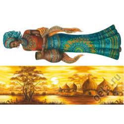 Африка: деревня и леди, бумага рисовая для декупажа 48х33см 28г/м? Stamperia