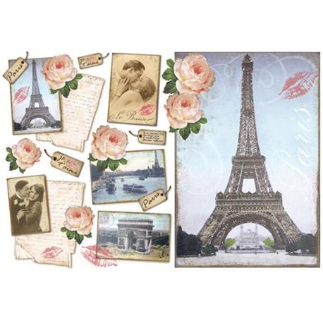 Париж, бумага рисовая для декупажа 48х33см 28г/м? Stamperia