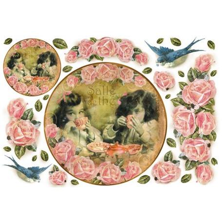 Чай и цветы, бумага рисовая для декупажа 48х33см 28г/м? Stamperia