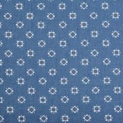 Ромб т.голубой-цветной, ткань джинс 50х50см 60%хлопок 40%полиэстер