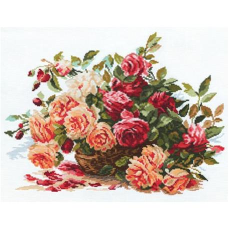 Розы, набор для вышивания крестиком, 40х30см, 26цветов Алиса