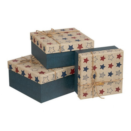 Звезды, квадратная коробка картонная средняя с рисунком 16,5*16,5*7,5см