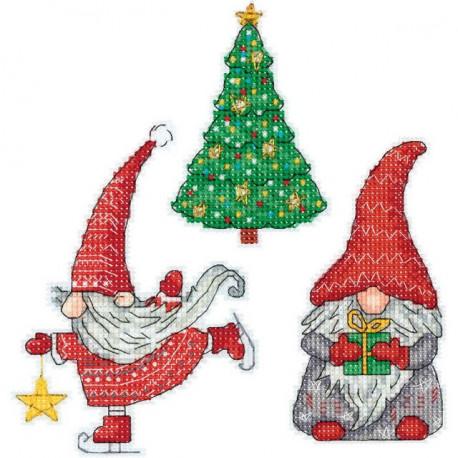 Новогодние гномики, набор для вышивания крестиком на пластиковой канве 6х12см, 17цветов Panna