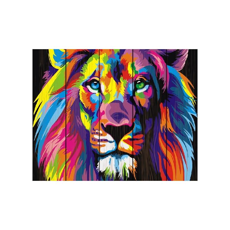 Радужный лев, раскраска по номерам на дереве 40х50см 19цв ...