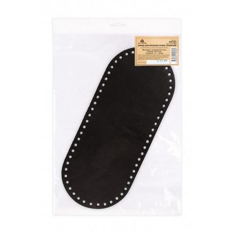 Черный, кожанное овальное донце для вязаной сумки 13х31см ART-TANNER