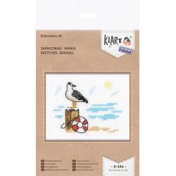 Зарисовки. Чайка, набор для вышивания крестиком, 10х8.5см, 10цветов Кларт