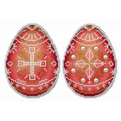 Алая писанка, набор для вышивания крестиком на пластиковой канве 8х11см 6цветов Жар-птица