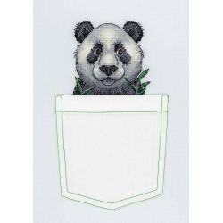 Веселая панда, набор для вышивания крестиком на одежде 8х9см 10цветов Жар-птица