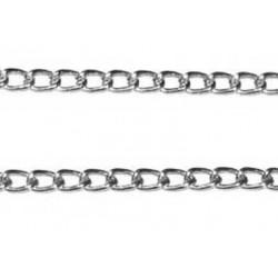 Под серебро, цепочка декоративная 5х3.1мм 1м алюминий Micron