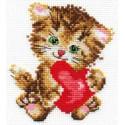 Любимая киска, набор для вышивания крестиком, 10х11см, 10цветов Алиса
