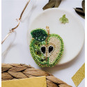 Зеленое яблоко, набор для изготовления броши из бусин и бисера на натуральном холсте, 5,1см Брошь Ab