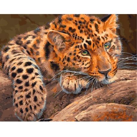 Задумчивый леопард, раскраска по номерам на холсте 40х50см 24цв Планета Картин