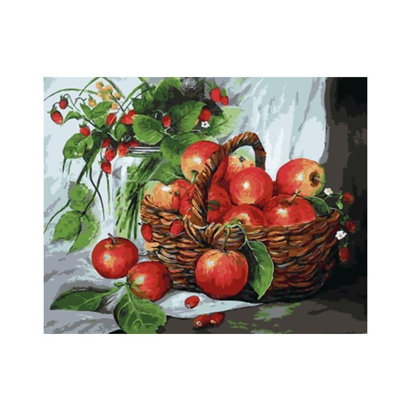 Яблоки и земляника, раскраска по номерам на холсте 40х50см ...