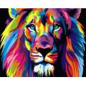 Радужный лев, раскраска по номерам на холсте 40х50см 19цв Планета Картин