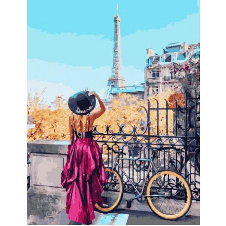 Парижский велосипед, раскраска по номерам на холсте ...