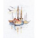 Лодки на рассвете, набор для вышивания крестиком 6х9см 13цветов Алиса