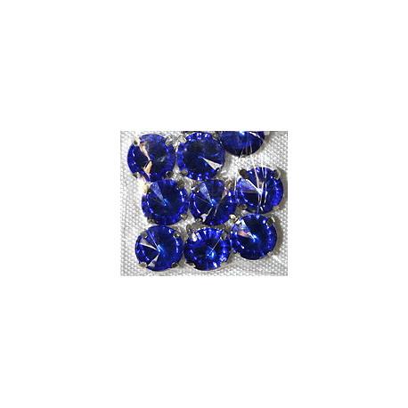 Синий, стразы в цапах круглые 11мм, 10шт
