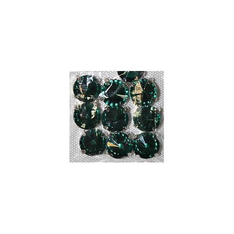 Зеленый, стразы в цапах круглые 11мм, 10шт