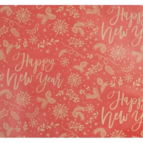 Новогодние пожелания, бумага упаковочная крафт, 70х50см