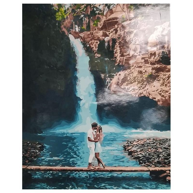 У водопада, раскраска по номерам на холсте 40х50см 28цв ...