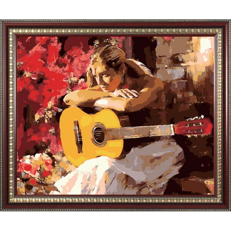 Девушка с гитарой, раскраска по номерам на холсте 40х50см ...