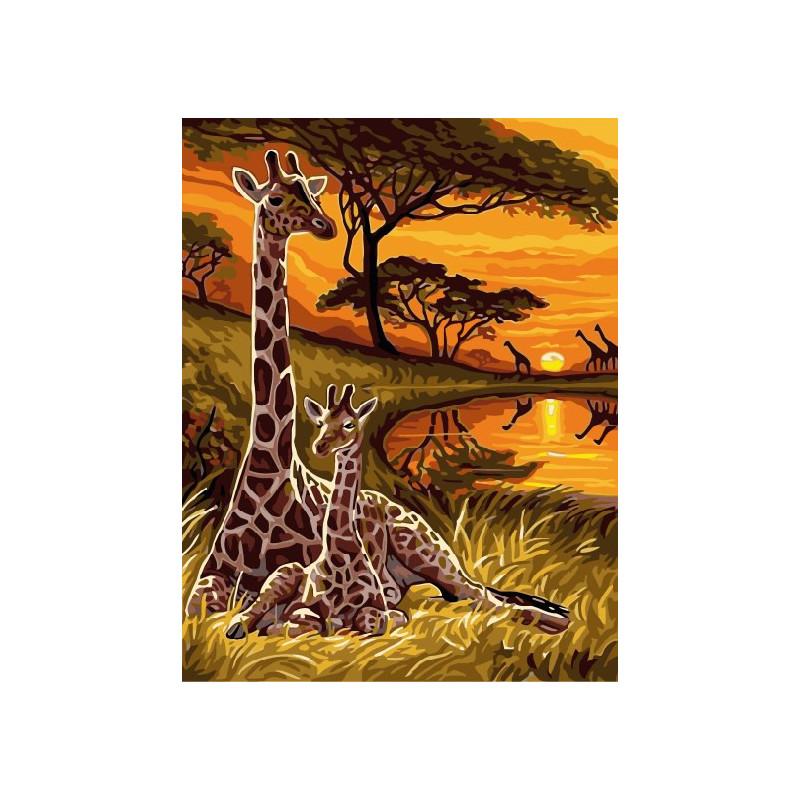 Африка, раскраска по номерам на холсте 30х40см 21цв ...
