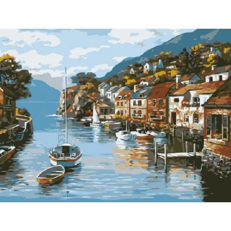 Город у моря, раскраска по номерам на холсте 30х40см 16цв ...