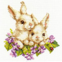 Крольчата, набор для вышивания крестиком, 15х16см, 19цветов Алиса