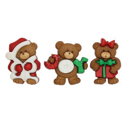 Рождественские мишки, набор пуговиц 3шт пластик Dress It Up