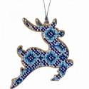 Олень с синим узором, набор для вышивания бисером на перфорированной основе двп 9х10см 4цв ВС