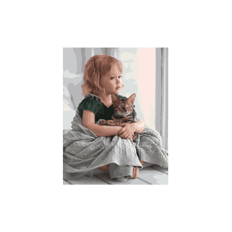 В обнимку с котом, раскраска по номерам на холсте 40х50см ...