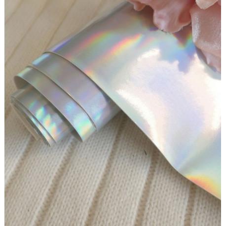 Ртутный серебро, кожзам для скрапбукинга 33х70(±1см)