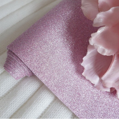 Сиреневая, глиттерная ткань для творчества 33х70(±1см)