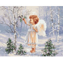 Ангелочек и зимняя пташка, картина по номерам на холсте 40х50см 24цв Original
