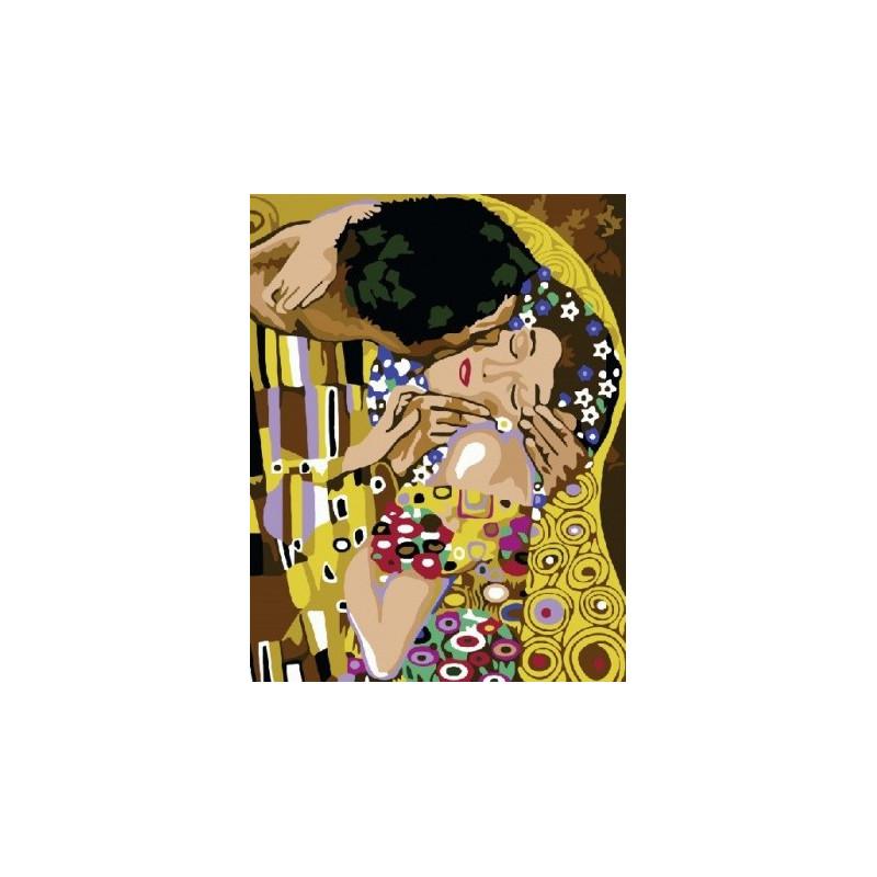 Поцелуй (Климт), раскраска по номерам на холсте 40х50см ...