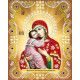 Владимирская в красном, ткань с рисунком для вышивания бисером (в наборе бусины и стразы) 20х25см На