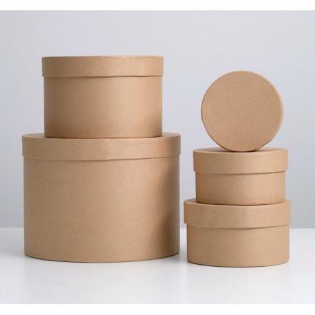 Круглая коробка картонная большая крафт 16*16*10см