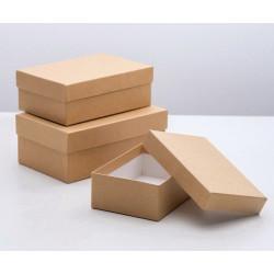 Прямоугольная коробка картонная крафт большая 19х12х7,5см
