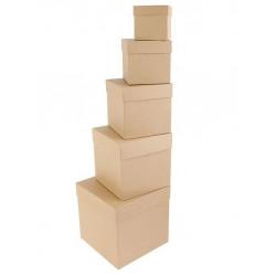 Квадратная коробка картонная средняя крафт 16*16*16см