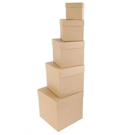 Квадратная коробка картонная большая крафт 22,5*22,5*22,5см